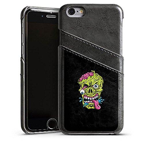 Apple iPhone 5s Housse Étui Protection Coque Zombie Halloween Effrayant Étui en cuir gris
