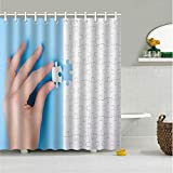 Shower Curtain with Hooks,Extra Long 72
