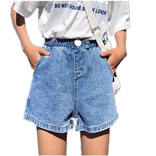 ZHOUXICAN Pantaloncini da Donna Pantaloncini di Jeans da Donna in Vita Alta Elastico in Vita Pantaloncini a Gamba Larga Jeans Corti Femme Blu S