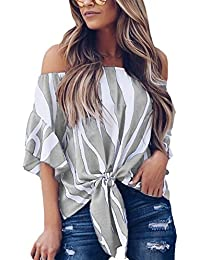 2a12a3fede8bb0 DOKOTOO Womens Striped Off Shoulder 3 4 Bell Sleeve Tops Ruffled Tie Front  Shirts Blouse