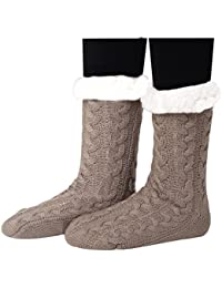Haked Women's Super Soft Warm Cozy Fuzzy Fleece-lined Winter Knee Highs Slipper Socks