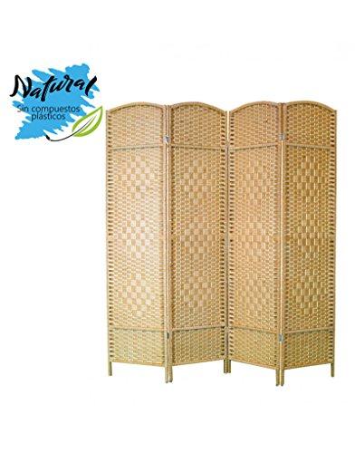 Biombo color Natural de Bambú y papel trenzado para dormitorio de madera - Edición Nature - Hogar y más - 4 Paneles