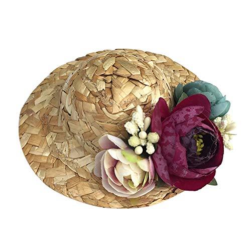 Maritown Schoßhund-Sommer-Hut, Blumen-Sonnenhut-Strandurlaub-Kostüm-Zusätze für das Hündchen-Katzen-Innenim Freien