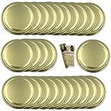 gouveo 25er Set Ersatzdeckel to 82 Gold inkl. Flaschendiscount-Rezeptbroschüre, Deckel, Twist-Off Verschluss, Schraubverschluss für Einmachgläser
