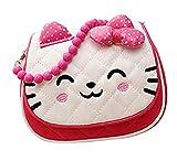 Scheppend bambine carino principessa fiocco di nastro tallone Messenger spalla borsa borsetta borsa (rosa rossa)