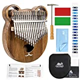 AKLOT Kalimba 17 Keys Thumb Piano Solid Wood Marimbas Finger Piano Start Kits African Instrument for Kids Adult with Protective Case Tuning Hammer Study Booklet