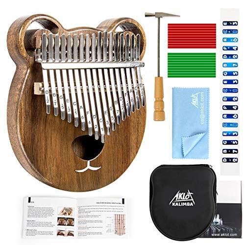 AKLOT Kalimba 17 Schlüssel Marimba Daumen Klavier Massivholz Finger Piano Mbira afrikanisches Instrument für Kinder Erwachsene mit Lernanleitung Start Kits mit Schutzhülle Stimmhammer...