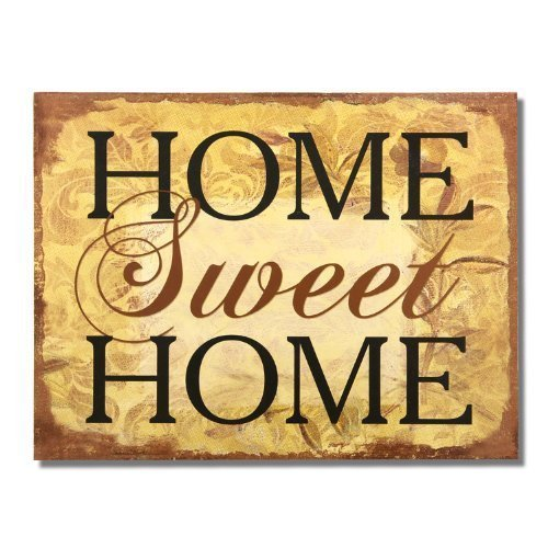 Adeco Decorative Wood Wall Hanging Sign Plaque Home Sweet Home Brown Gold Home Decor by Adeco