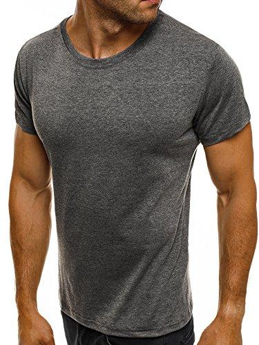 OZONEE Herren T-Shirt Kurzarm Basic Figurbetont U-Neck Shirt J.STYLE 682006 Dunkelgrau