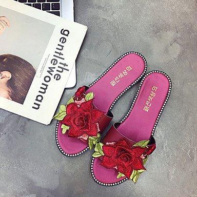 zhENfu Donna pantofole & flip-flops Comfort suole di luce PU abiti estivi Comfort suole di luce fiore tacco piatto verde nero rubino Piatto bianco Ruby