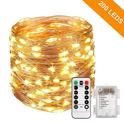 Lichterkette Batterie GREEMPIRE 200 LEDs Lichterkette Außen IP65 Wasserdicht 20m Kupfer Drahtlichterkette Timer 8 Modi Lichterkette für Garten Zimmer Hochzeit Party Weihnachten (Warmweiß)