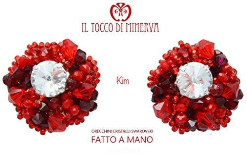 Orecchini cristalli swarovski kim Multicolor Rosso - Realizzati a Mano - Made in Italy