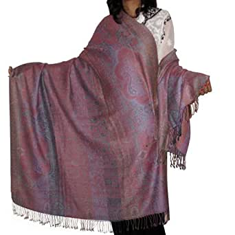 Antique Shawl Wool Jamawar Style Ladies Wrap from India 203.20 x 101.60 cms