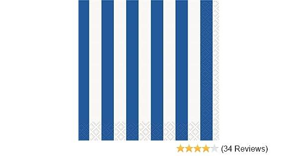 16ct Unique 38011 Royal Blue Striped Beverage Napkins