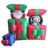XXL LED WEIHNACHTSMANN + Pinguin IN GESCHENKBOX~120 cm~AUFBLASBAR~Inflatable~AIRBLOWN~SELBSTAUFBLASEND~LED BELEUCHTET~Garten DEKO Figur~AIR Blown~WEIHNACHTSDEKO~Santa~