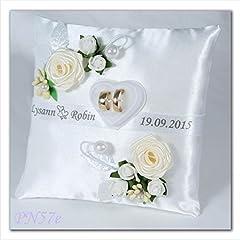 Idea Regalo - Cuscino per anelli di matrimonio personalizzato con scatola porta anelli, personalizzabile (PN57), Tessuto, Ecru, 19x19cm