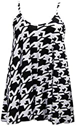 Womens Dog Tooth Print Sleeveless Ladies Swing Dress Top