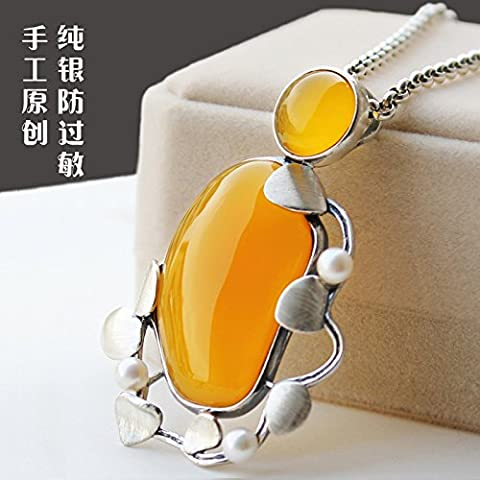 925 Sterling Silver sweater chain long winter South Korea simple retro all-match manual fashion large (Shiny Silver Beads)