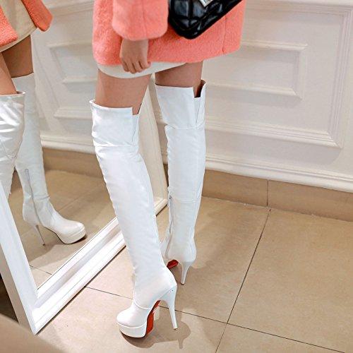 Cuissardes Talon Haut Aiguille Sexy Plateforme Chaussures Fourrure Cavalières Blanche Femme Bottes OALEEN Elégante Zip 5f4wAA