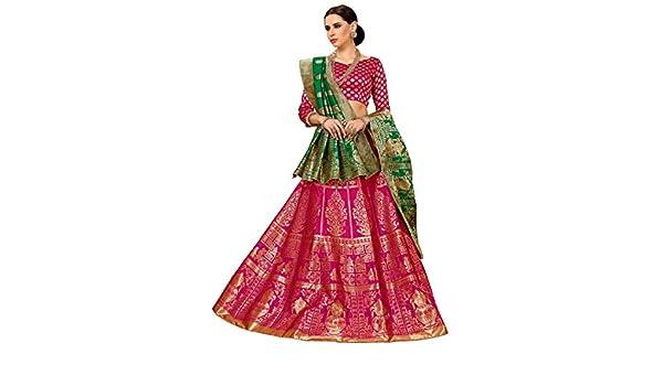 c5562e34be Chhabra 555 Magenta and Green Baluchari Design Embroidered Banarasi Silk  Lehenga Choli and Dupatta: Amazon.in: Clothing & Accessories