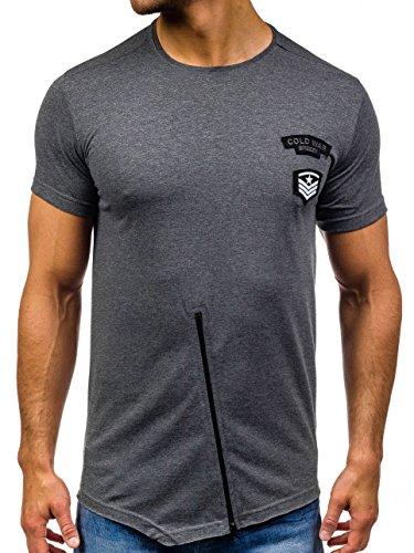 BOLF Herren T-Shirt Tee Classic Party Slim Fit Kurzarm Print Rundhals 3C3 Motiv Dunkelgrau