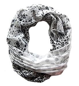 Großes Damen Schlauchtuch Ashley mit Motiv Leopard, Punkte, Blumen Loop Schal in schwarz weiß