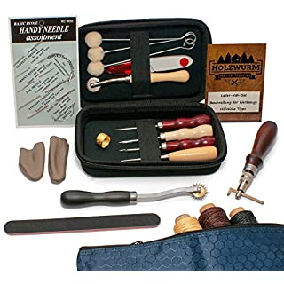 HOLZWURM Leder Nähset Werkzeug Set zum Nähen inkl. Tasche - Nähset mit Ahle, Nahtversenker, Garn, 7 Nadeln & Zubehör