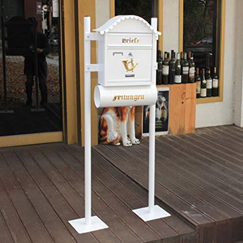 Yxsd Weiße Briefkasten-Briefkasten-im Freienwand-hängenden Landhaus-Wasserdichten dekorativen Briefkasten mit Zeitungs-Rohr (Farbe : Standing)