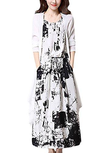 Zwei Teilig Anzüge Damen Elegant Vintage Ethno Style Baumwolle Leinen Lange Kleider Ärmelloses Sommerkleider Und Cardigan Tinten-Printing Grace Casual