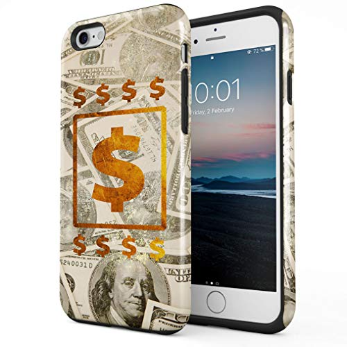 Maceste 100 Dollar Bills Cash Gold Compatible with iPhone 6 Plus / 6s Plus Silicone Inner & Outer Hard PC Shell 2 Piece Hybrid Armor Case Cover