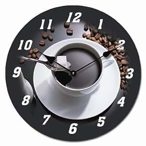 Horloge murale espresso image 30 30cm circulaire le for Pendule de cuisine amazon