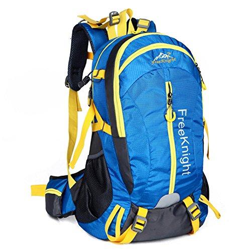 HWJDK Wandern Rucksack, 40L Outdoor Travel Sport Rucksack für junge Menschen Männer und Frauen Camping Bergsteigen Blue