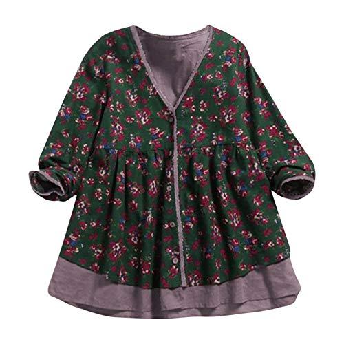 Briskorry Damen Cardigan Vintage Pullover Elegant Mantel Langarm -