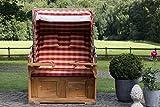 CLP Luxus Teakholz Strandkorb AMRUM mit GRATIS Kissen, 120 cm Breit Rot
