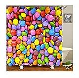 KnSam Duschvorhang Anti-Schimmel Wasserdicht Vorhänge an Badewanne Bad Vorhang für Badezimmer Bunte Süßigkeiten 100% PEVA inkl. 12 Duschvorhangringen 180 x 200 cm