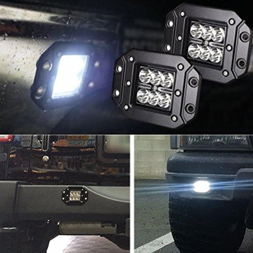 Price comparison product image 2P 3X3 Inch 4 Inch 18W Spot Flush Mount Auxiliary Driving Led Work Lights Reverse Backup Cube Pods Fog Lights Bumper Grill Lamps For Off Road Boat Marine 4Wd Atv Ute Suv Utv 4X4 Truck Pickup 12V-24V