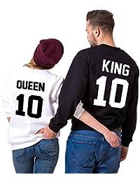 Sudaderas Par de Conjunto para Mujeres y Hombres Suéter Impresión king Queen 10 sin capucha Manga Larga Sweater 2 piezas por JWBBU®