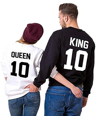 King Queen Pull Couple Hoodies Paire Set Pour Femme et Homme Impression des KING ET QUEEN 10 à Capuche Manches Longues Pullover 2 Pieces Par JWBBU® (King-M+Queen-M, Noir et Blanc)