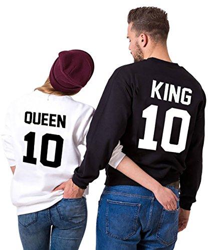 Sudaderas Par de Conjunto para Mujeres y Hombres Suéter Impresión king Queen 10 sin capucha Manga Larga Sweater 2 piezas por JWBBU® (King-M+Queen-S, Negro y Blanco)