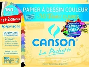Canson - Pochette papier à dessin couleur Mi-Teintes couleur pastels, 160g/m² 24x32cm, 12 + 2 feuilles