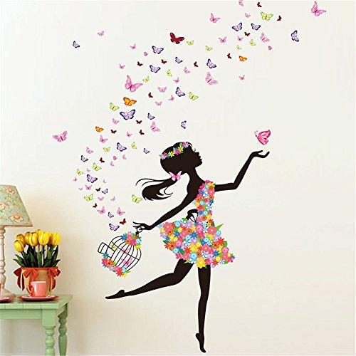 Colorfulworld farfalla fata adesivi murali fata in fiore decorazione adesivo da parete farfalla di rilascio per ragazza (zy059)