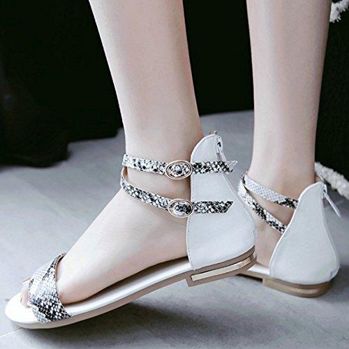 ... TAOFFEN Damen Comfortable Ankle-strap Zipper Buckle Flach Sandalen Weiß  ...