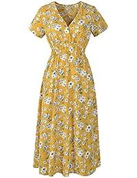 GreatestPAK_Robes Robe imprimée, fleurs et col V Femme Robe de plage d'été
