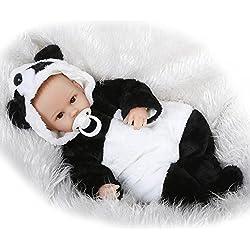 Nicery Renacer Bebé la Muñeca Vinilo Simulación Silicona Suave 18 pulgadas 45cm Boca Magnética Natural Niña Niño Juguete Boy Girl Panda Painted Hair Eyes Open