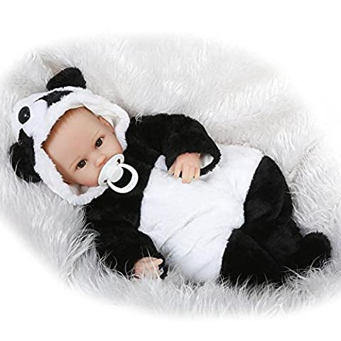 Nicery Reborn Baby Doll Soft Simulation Silicone Vinyl 18inch 45cm Magnetic Mouth Lifelike Toy Boy Girl Panda Painted Hair Eyes