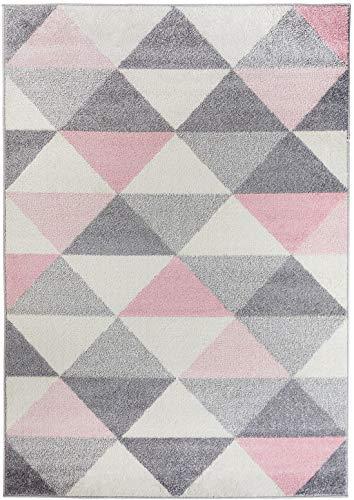 Carpetforyou Schöner Geometrischer Kurzflor Teppich Smoothie Pink Dreieck rosa grau Creme bunt in 4...