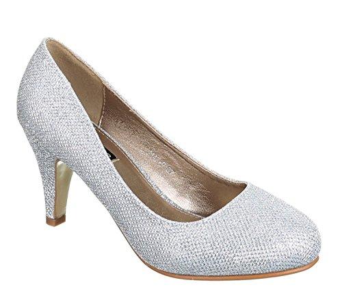 King Of Shoes Klassische Damen Glitzer Pumps Stilettos Abend Schuhe Party Hochzeit (37, Silber)