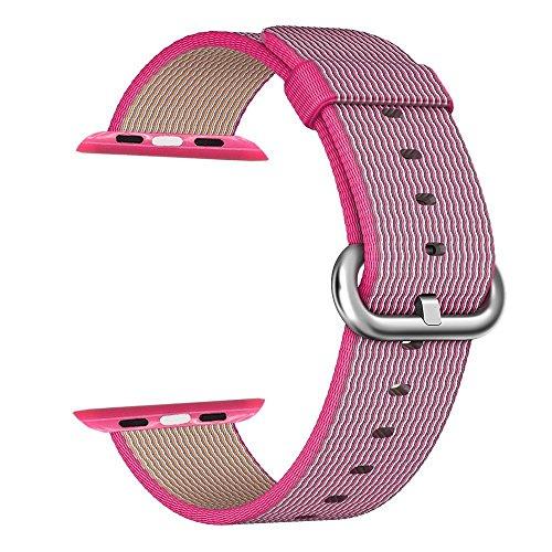 Apple Watch cinturino ,PUGO TOP Woven Nylon Replacement Wrist cinturino Bracelet Strap for Apple Watch Serise 1/Apple Watch Serise 2 (38mm , Rosa )