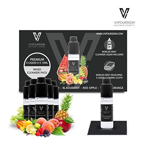 VAPOURSSON 6 X10ml E-Liquid mit Reiniger und Reinigungstuch, 0 mg (ohne Nikotin) Reinigungsflüssigkeit | Fruchtmischung | Mangopfirsich | Blackberry | Roter Apfel | Vanilleorange | Reinigungstuch