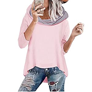 ASSKDAN Damen Mode Kapuzenpullover Rosa Hoodie Hoher Kragen Langarm Pullover Sweatshirt Mit Kapuze - Herbst Winter